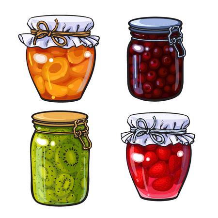 Satz Aprikosen-, Kirsch-, Erdbeer- und Kiwistau, Marmelade in den traditionellen Gläsern, Skizzenartvektor.