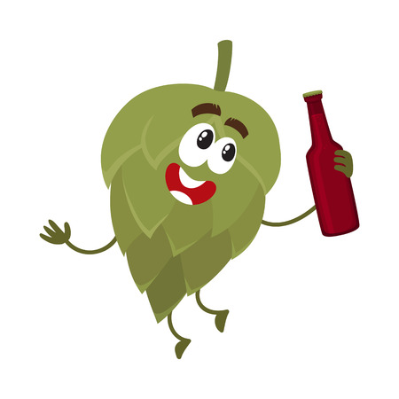 Funny beer hop character with smiling human face holding dark beer bottle, cartoon vector illustration isolated on white background. Cute and funny hop character, mascot with beer bottle Ilustrace