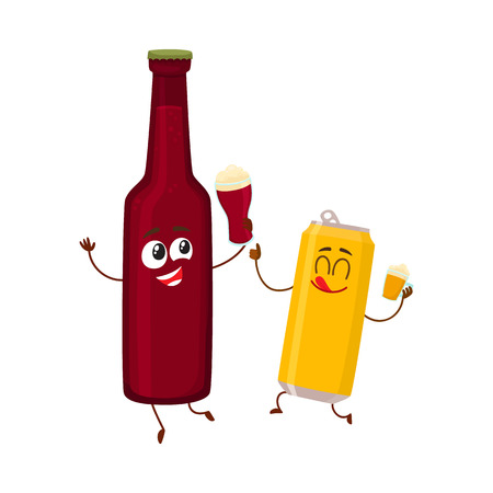 Funny beer bottle and can characters having fun, drinking, holding glasses, cartoon vector illustration.