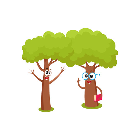 Two funny tree characters cartoon vector illustration isolated on white background. Couple of funny tree characters, mascots