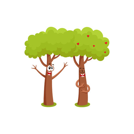 Two funny tree characters, one hugging, showing love, another raising branches, cartoon vector illustration isolated on white background. Couple of funny tree characters, mascots, flirting and love