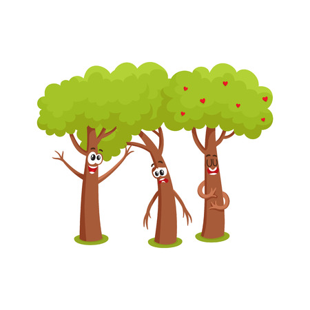 Three funny comic tree characters talking, sad, hussing,garden, love, friendship concept, cartoon vector illustration isolated on white background. Set of three funny tree characters, mascots