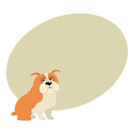 かわいい英語ブルドッグ犬文字、テキスト用のスペースと漫画ベクトル図です。面白い座って英語ブルドッグ犬のキャラクター、カラフルな漫画イ