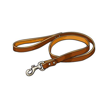 Simple animal domestique, chat, chien laisse en cuir marron avec attache métallique, illustration vectorielle croquis isolé sur fond blanc. Animal tiré à la main, laisse de chien, plomb en cuir marron épais
