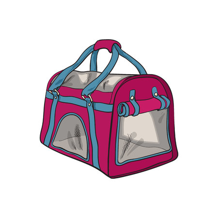 Pet travel fabric carrier, bag for transporting cats, dogs, sketch style vector illustration.
