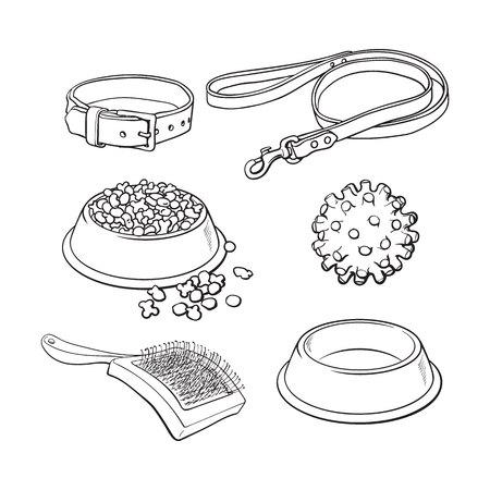 Set van huisdier, kat, hond accessoires volledige en lege kom, kraag, leiband, rubberen bal, haarborstel, zwart en wit schets stijl vectorillustratie.