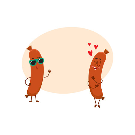 hot couple: Couple of funny sausage characters.