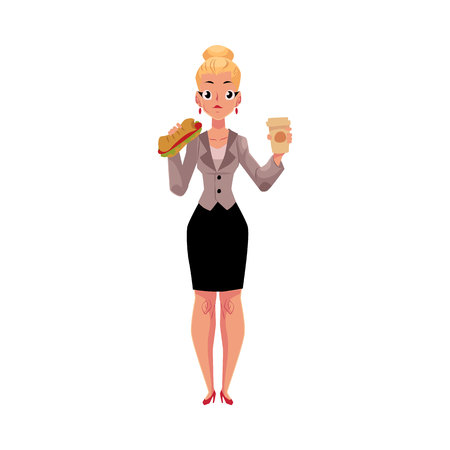 Young blond businesswoman eating sandwich, holding coffee cup. Illustration