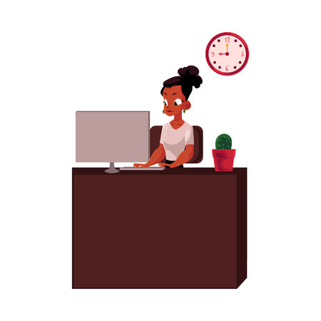 African American businesswoman, secretary, working on computer at office table, cartoon vector illustration isolated on white background.