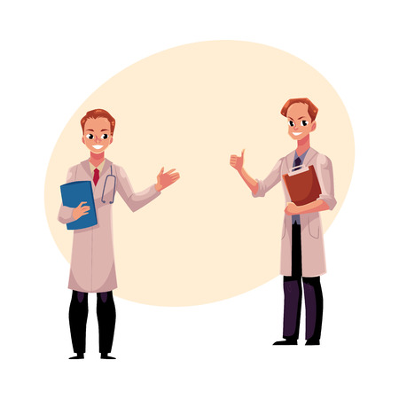 Two male doctors in medical coats holding document folder and clipboard and doing thumbs up.