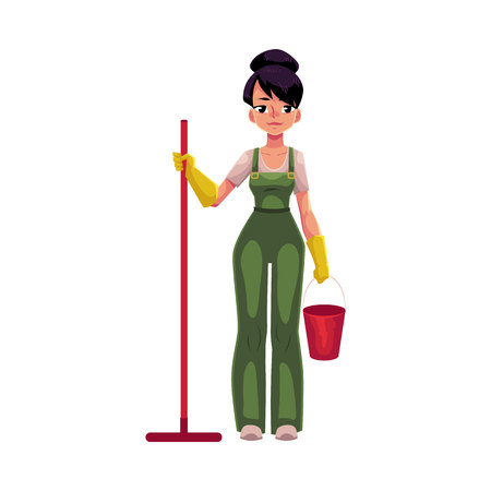 Cleaning service girl holding mop and bucket, wearing uniform