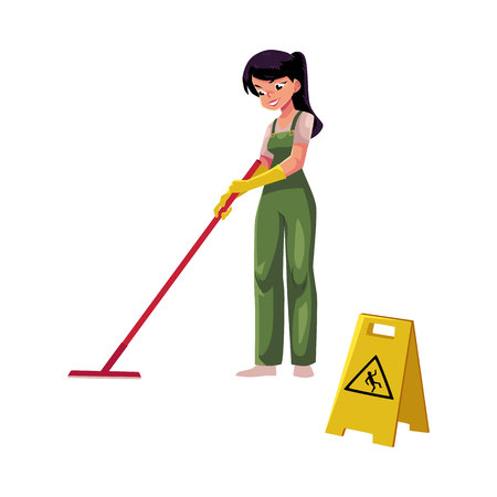 Cleaning service girl, charwoman, cleaner in overalls holding mop, cartoon vector illustration isolated on white background. girl washes the floor with a MOP next to a warning sign, slippery floor Çizim
