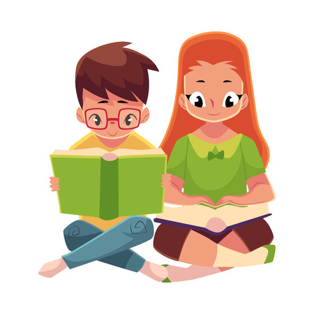 Two kids, boy in glasses and red haired girl, reading books sitting on the floor. Illustration