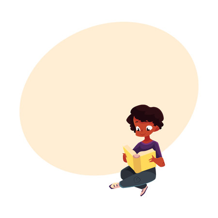 Little African American boy reading book while sitting crossed legs on the floor. Ilustração