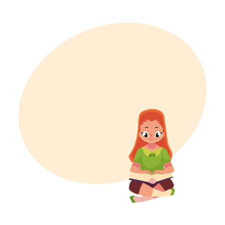 Little girl reading book sitting on the floor
