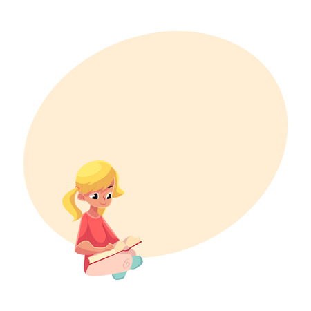 ponytails: Little blond girl with ponytails reading book sitting with crossed legs on the floor, cartoon vector illustration with space for text. Little girl reading book sitting on the floor Illustration
