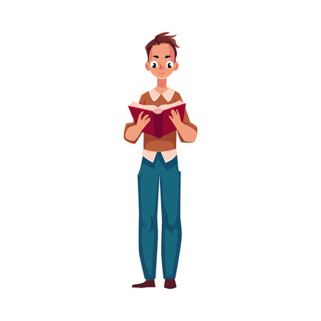 Hombre joven, niño leyendo un libro interesante en posición de pie, ilustración vectorial de dibujos animados aislado sobre fondo blanco. Retrato de cuerpo entero de hombre, pie de libro de lectura chico, vista frontal