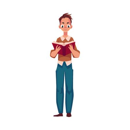 Jonge man, jongen lezen interessante boek in staande positie, cartoon vectorillustratie geïsoleerd op een witte achtergrond. Volledig lengteportret van de mens, het boek van de kerellezing status, vooraanzicht