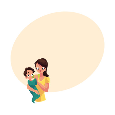Mother holding and feeding her little baby son with milk bottle, cartoon vector illustration with space for text. Half length portrait of young mother holding and feeding her baby son