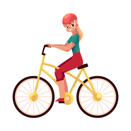 Young pretty blond woman, girl riding a bicycle, cycling, cartoon vector illustration isolated on white background. Full length, side view portrait of young long haired woman riding a bicycle, cycling