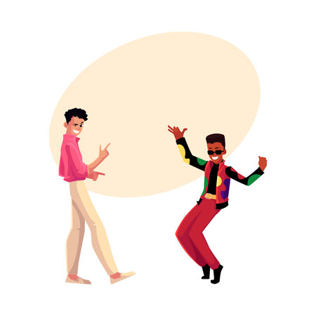 Two men, guys, Caucasian and black, in 1980s style clothes dancing disco, cartoon vector illustration with space for text. Men, friends in 80s style clothing dancing at retro disco party