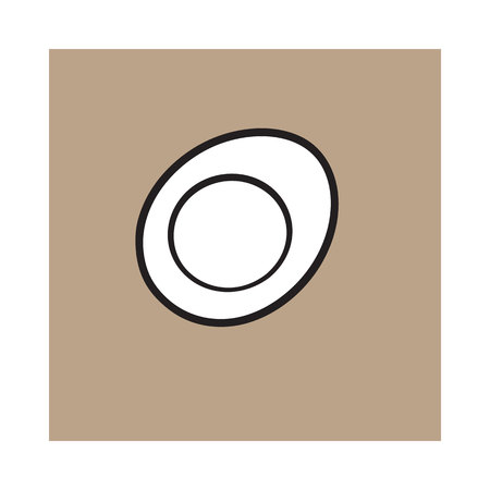 Boiled chicken egg cut in half, sketch style vector illustration isolated on brown background. Hand drawn, sketched illustration, half of hard boiled chicken egg
