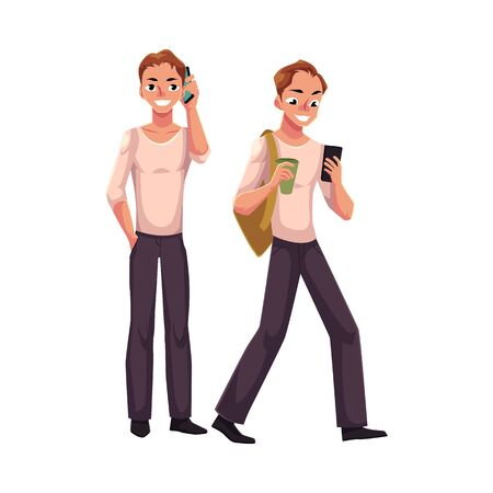 Young man talking by mobile phone standing, using smartphone on the go, cartoon vector illustration isolated on white background. Young man using mobile phone while standing and walking