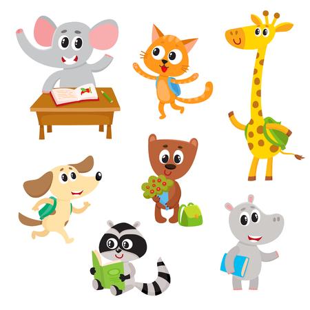 귀여운 작은 동물 학생, 공부 하 고, 읽기, 학교, 만화 벡터 일러스트 레이 션 흰색 배경에 고립 된 문자. 배낭과 책, 작은 아기 동물 학생 공부 일러스트