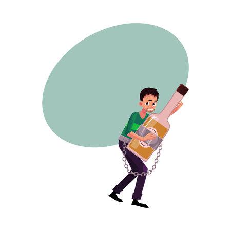 Homme mal rasé tenant la bouteille d'alcool, enchaîné, dépendance à l'alcool, abus, trouble, illustration de vecteur de dessin animé avec un espace pour le texte. Homme enchaîné à la bouteille d'alcool qu'il tient dans les mains Banque d'images - 79176220