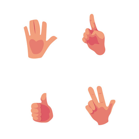 Set of hands showing high five, thumb up, pointing, victory sign, cartoon vector illustration isolated on white background. Cartoon hand showing high five, thumb up, victory sign, pointing up Illustration