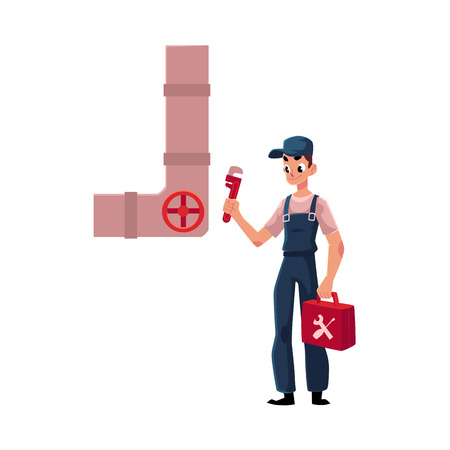 Plumbing specialist holding wrench and toolbox, ready to repair a sewer pipe, cartoon vector illustration isolated on white background. Plumber, plumbing specialist, repairman with wrench a toolbox Illustration