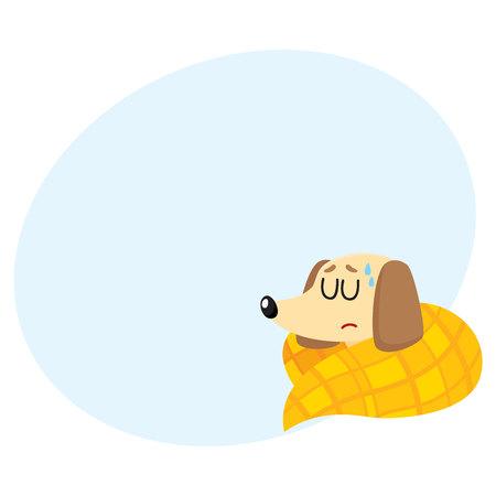 Sick baby badger dog having flu, fever, sleeping under blanket, cartoon vector illustration with space for text. Sick little dog having flue, cold, fever, lying under blanket with closed eyes
