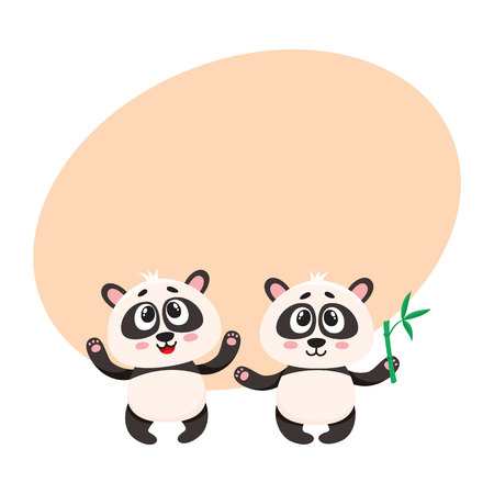 Two cute, funny happy baby panda characters standing, looking up, cartoon vector illustration with space for text. Couple of cute little panda bear characters, mascots with paws raised up