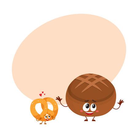 ドイツのプレッツェルと茶色のパン、パン屋さんの文字を笑顔のカップルは、テキスト用のスペース、ベクトル図を漫画します。サクサクのプレッ