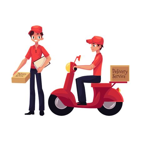 Koerier, levering werker paardrijden scooter, permanent met Klembord en perceel doos, handkar met vakken, cartoon vectorillustratie geïsoleerd op een witte achtergrond.