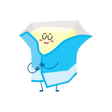 人間の顔を笑顔で面白いクリーム バター文字は、箔、白い背景で隔離の漫画ベクトル図に包まれて。かわいいと面白い牛乳バター文字、箔ラップの