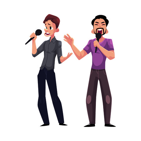 Two men, guys singing in duet, holding microphones, karaoke party, contest, competition, cartoon vector illustration isolated on white background. Two men, boys, guys, karaoke singers singing together Illustration