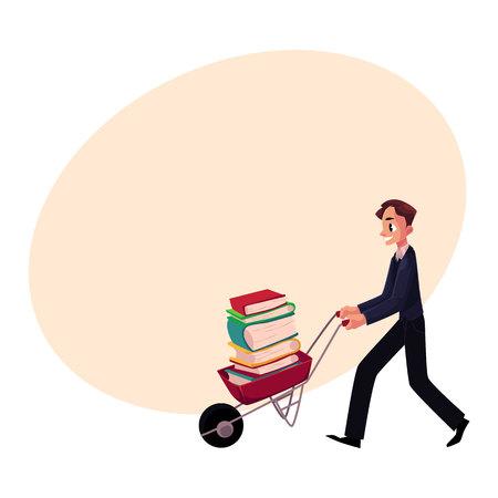 젊은 남자, 사업가, 학생, 책 더미와 수레를 추진하는 사서, 텍스트위한 공간 만화 벡터 일러스트 레이 션. 수레 책, 연구, 작업량 개념의 전체를 추진하