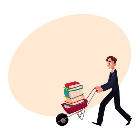 Young man, businessman, student, librarian pushing wheelbarrow with book pile, cartoon vector illustration with space for text. Man pushing wheelbarrow full of books, study, workload concept Иллюстрация