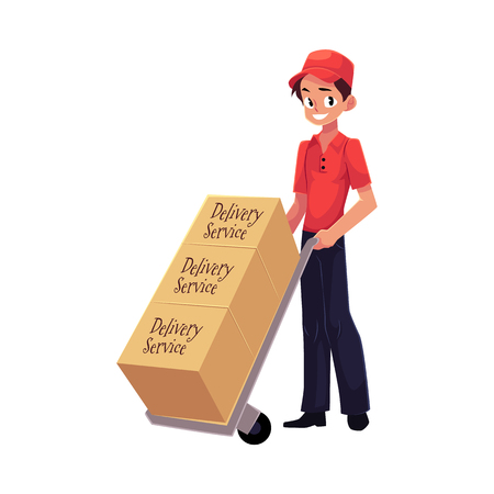 Courier, delivery service worker with hand cart, dolly loaded with boxes, cartoon vector illustration isolated on white background. Full length portrait of delivery service man with hand cart, dolly Illustration