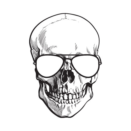 Hand drawn human skull wearing black and white aviator sunglasses, sketch style vector illustration isolated on white background. Realistic hand drawing of skull wearing sunglasses