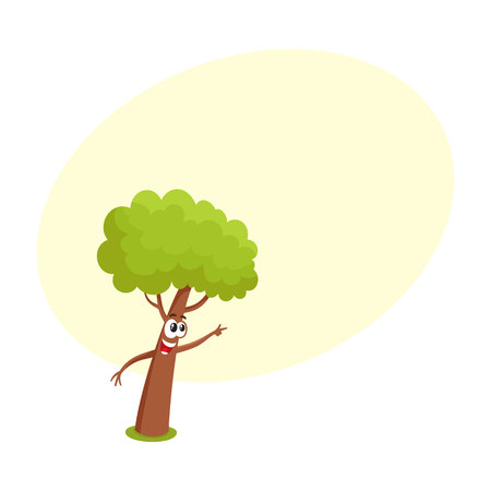 Funny tree character showing, pointing to something with finger, cartoon vector illustration with space for text. Funny tree character, mascot with smiling human face pointing to something Illustration
