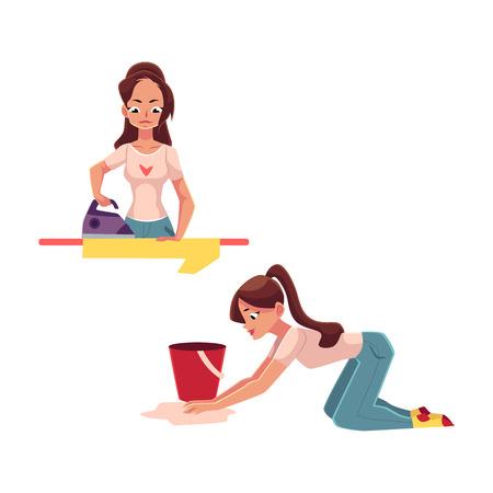 きれいな若い女性、主婦の家事 - アイロン、床の洗浄、白い背景で隔離のベクトル図を漫画します。美しい女性、女の子洗浄床、アイロン、彼女の
