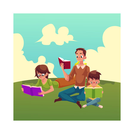 Man, woman, boy reading books sitting and lying on the grass, cartoon vector illustration isolated on white background. Man, woman and boy, father, mother and son reading books