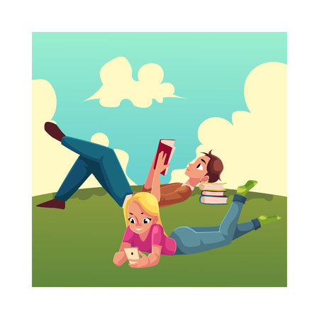 her: Boy, man reading book and woman playing with smartphone, using mobile phone, lying on her stomach on the grass, cartoon vector illustration isolated on white background. Man and woman reading book