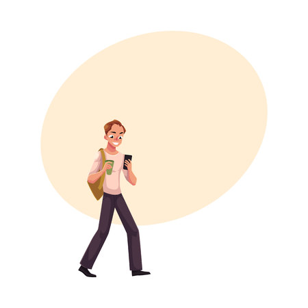 Man using smartphone, mobile phone on the go, walking with backpack and coffee cup, cartoon vector illustration with space for text. Full length portrait of man using mobile phone on the go Illustration