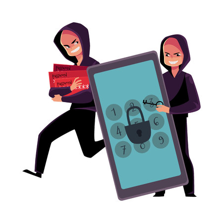 Hacker cracking smartphone, breaking pin code, stealing money from credit card, cartoon vector illustration isolated on white background. Smartphone hacking, breaking, cracking, credit card fraud Illustration