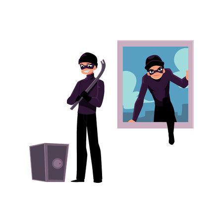 Dief, inbreker klimmen in huis raam, gaan open kluis, cartoon vectorillustratie geïsoleerd op een witte achtergrond. Inbreker, dief die in huisvenster breekt, kracht die brandkast opent Stockfoto - 79191844