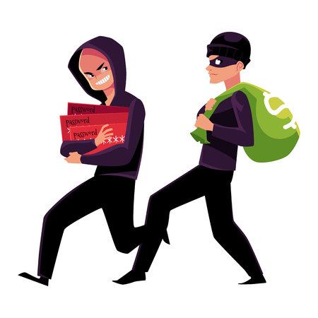 Thieves, robbers stealing money and credit card information, cartoon vector illustration isolated on white background. Cash money stealing and credit card fraud, robbery and fraudulent transactions Illustration