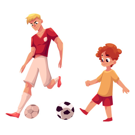 Little boy and adult soccer player playing football, choice of profession concept, cartoon vector illustration isolated on white background. Professional soccer player and little boy playing football